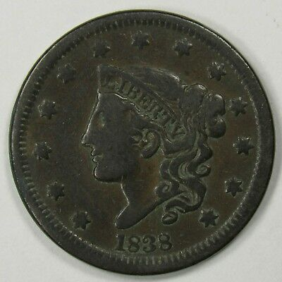 1838 Coronet Head Large Cent Good Date Type Coin