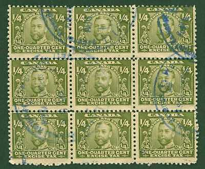 Canada Revenue  van Dam FX1 Block of 9 Excise Tax Stamps Used for Customs Duty