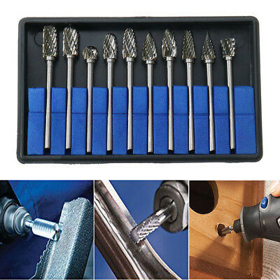 10Pcs Tungsten Carbide Metal Rotary Drill Bits Cutter Files Set 6mm 1/8'' Shank