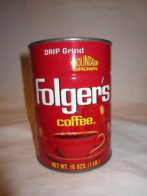 Vintage Mountain Grown Folger's Coffee Red Metal Can 16 oz