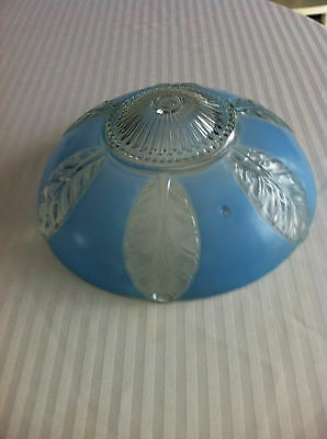 Blue and Clear  Glass Ceiling Light Shade With Leaf Design