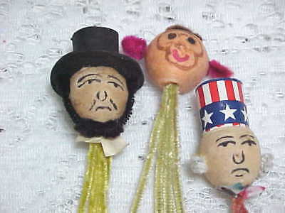 3 OLD Vtg Spun Cotton HEAD Chenille PICKS LOT Uncle Sam Abraham Lincoln MONKEY
