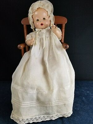 """Horsman Composition Baby Buttercup Dull 1934 w/ Tagged Molley Es Dress 14"""" RARE!"""