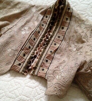 Antique Victorian French Embroidered & Trimmed Wool Jacket