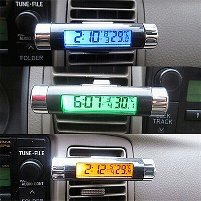 Hot ! Dual Purpose Car Air Vent Clip-on LCD Blue Backlight Thermometer Clock Fad