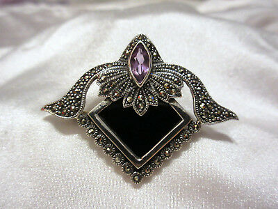 Vintage Art Deco Style Sterling 925 Marcasite, Amethyst & Onyx Brooch & Pendant