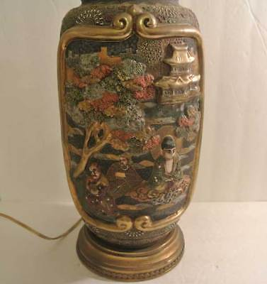 ANTIQUE Japanese MORIAGE SATSUMA Vase Table LAMP Gold Gilt Raised HIGH RELIEF
