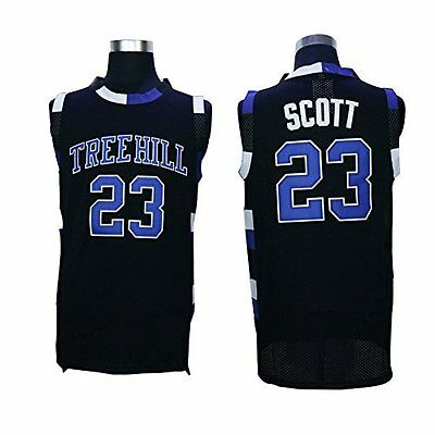 Cheap Throwback Basketball Jerseys Nathan Scott 23 One Tree Hill Ravens Black