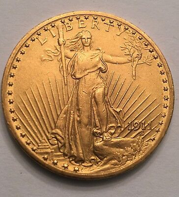 U.S. $20 Dollar Gold St. Gaudens Double Eagle Coin 1911