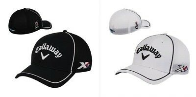 New Callaway Golf XR Tour Authentic Mesh Fitted Hat Cap A-Flex Fit Black White
