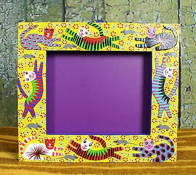 Colorful Alebrije Picture Frame with Cats Chasing Mice Hand Made Mexico Folk Art