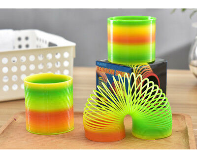 S M L Rainbow Spring Coil Slinky Fun Kids Toy Magic Stretchy Bouncing Party Gift