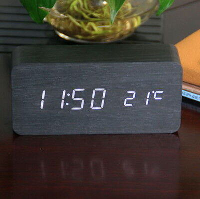 White Digital Alarm Clock LED Snooze Voice Control Time Thermometer Wooden Table