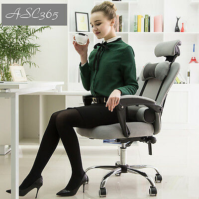 NEW Gray Breathable High Back Mesh Lift Swivel Chair Office Chair With Footrest