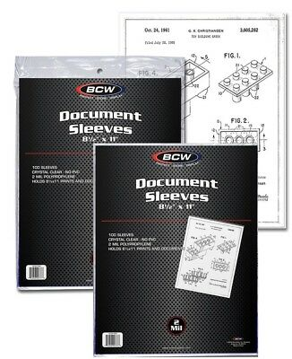 2 Pack of 200 Sleeves BCW 8½X11 Document Sleeves Toploaders (#861)