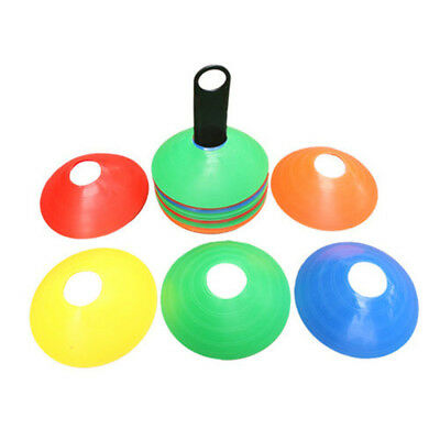 10 x Sports Training Discs Markers Cones Soccer Afl Exercise Personal Fitness EA