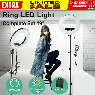 "19"" ES240 5500K Dimmable Diva LED Ring Light W/ Diffuser Stand Make Up Studio AU"