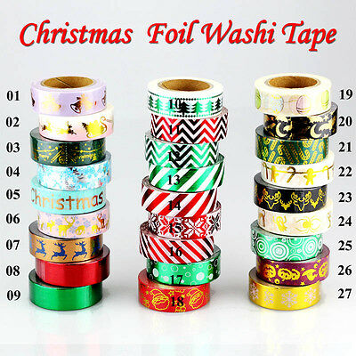 Christmas Foil Washi Tape Set Scrapbooking DIY Sticker decorative Tapes 10m/Roll