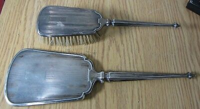 Old vanity hand mirror & brush sterling silver wit R & Lion mark