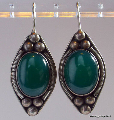 "Sterling Silver & Large Chrysoprase Cabochon Dangle Earrings - 1 3/4"" Drop"
