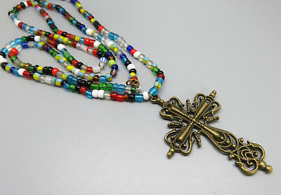 Long String Colorful Glass Trade Beads Necklace With Brass Cross