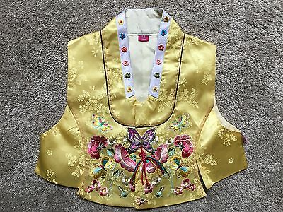 Children's yellow embroidered silk Chinese vest, 6