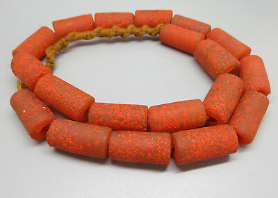Vintage Ethnic Tribal Orange Glass Barrel Beads Necklace String