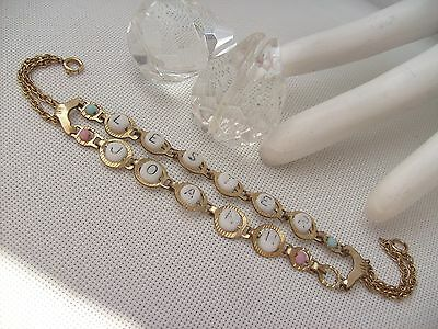 Antique 1/20 12k gold filled Bookchain Mothers Bracelet with Glass Bead Letters
