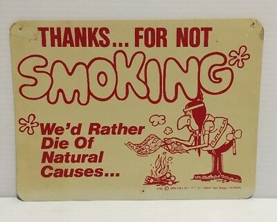 Vintage No Smoking Sign 1976 H&L Thanks for Not Smoking - Native American 1970s