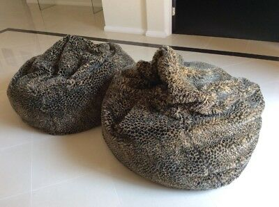 Two African look fur bean bags