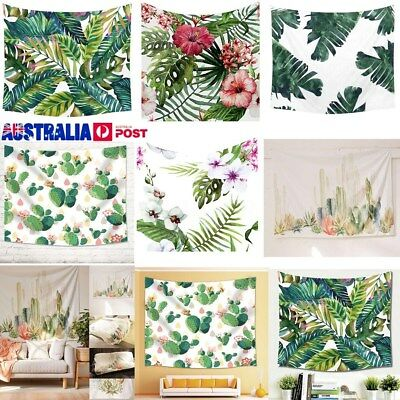 Cactus Leaves Tapestry Wall Hanging Bohemian Bedspread Throw Home Decor Mat AU