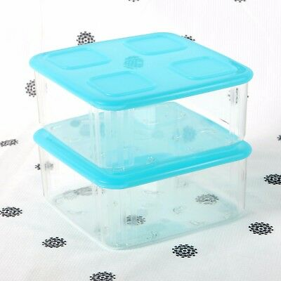 NEW Tupperware Clear Mates set of 2 x Square 2 Blue Seals Clearmates