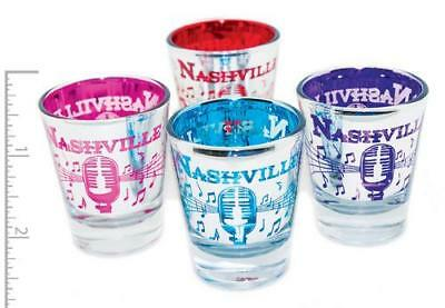 Nashville Shot Glass Silver Foil With Turq Red Ink And Purle Inside Party Favors