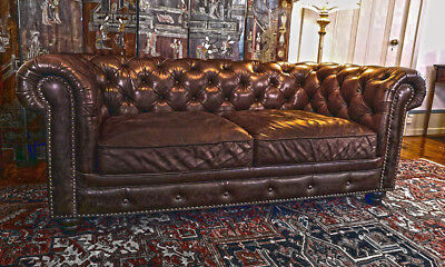 Vintage English Chocolate Brown Top Grain Leather Chesterfield Sofa