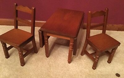 American Girl Molly Drop Leaf Wood Table with Two Chairs!Nice Condition!