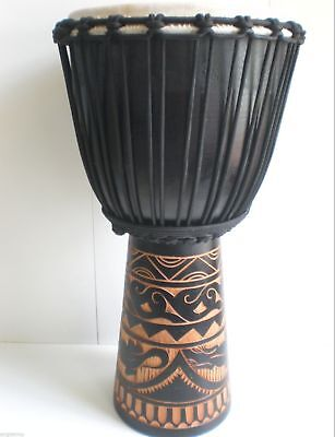 Quality Mahogany Wood Djembe Drum Tribal Carved Black 60Cm Tall Package
