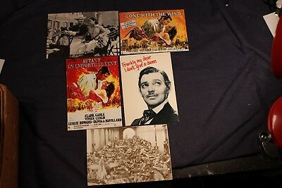 """5 GONE WITH THE WIND postcards  Each approx 6"""" by 4""""   Clark Gable  Vivien Leigh"""