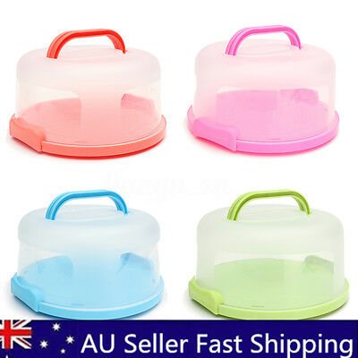 Portable Round Cake Dome Holder Container Carrier Handle & Clip Lock BPA Free