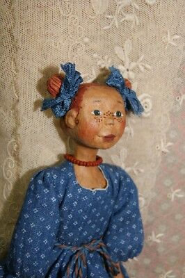 Beautiful carved wood Hitty doll friends 6.5(16.5cm)