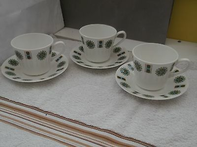 Three Cups And Saucers By Gainsborough China With A Geometric  Pattern