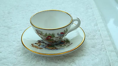 Caverswall China Miniature Christmas Cup And Saucer For 1979 Sledging