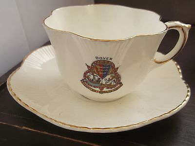 Arcadian China Cup, With Thistle Pattern,  And Saucer Crested Dover