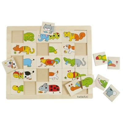 Beleduc Tiere Match & Mix Puzzle 30 Teile Kinder Lernspielzeug Holzpuzzle 11006