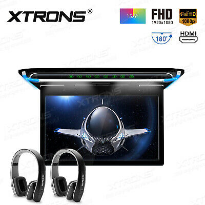 15.6'' Wide HDMI Car Ceiling Flip Down Monitor Roof Mount Player +IR Headphones