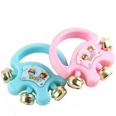 Baby Hand Shaking Bells Musical Rattle Handbell Educational Toys Instrument FO