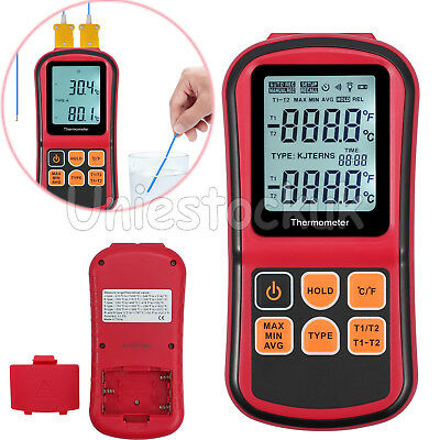 LCD Digital Thermometer +2 K-type Thermocouple + Battery Dual-channel Backlight