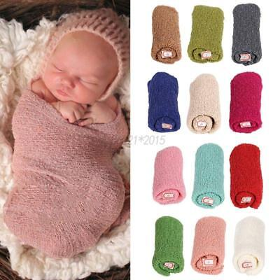 Newborn Baby Crochet Wrap Clothes Knitted Soft Photography Nubble Wraps 15.5x59""