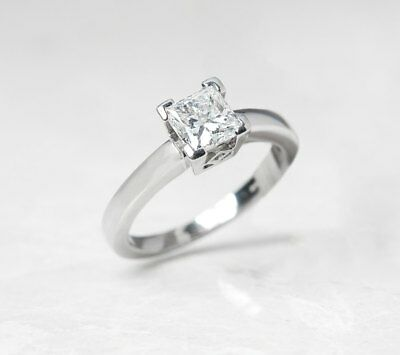 Platinum Princess Cut 1.03Ct Diamond Engagement Ring - Com938