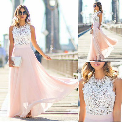 Womens Lace Long Maxi Sun Dress Formal Evening Party Cocktail Bridesmaid Wedding