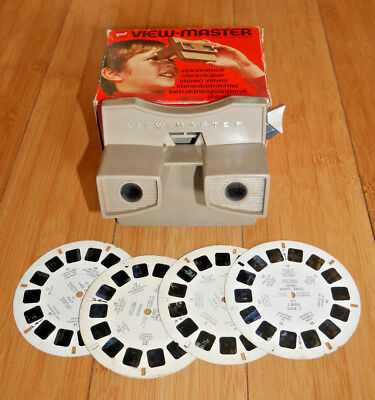 GAF VIEWMASTER VIEWER MODEL G BOXED WITH 4 REELS 1970's VINTAGE   (826)